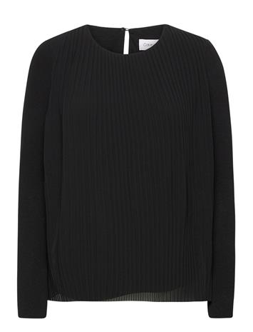 Calvin Klein Georgette Ls Pleat T Pitkähihainen Pusero Paita Musta Calvin Klein CK BLACK, Naisten paidat, puserot, topit, neuleet ja jakut