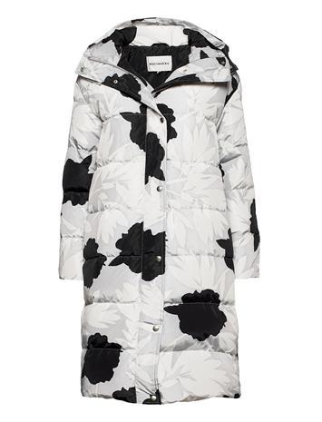 Marimekko Turvassa Pionipensas Coat Topattu Pitkä Takki Harmaa Marimekko GREY, BLACK, Naisten ulkovaatteet