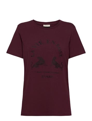 FREE/QUENT Fqchelly-Tee T-shirts & Tops Short-sleeved Punainen FREE/QUENT FIG 19-1718, Naisten paidat, puserot, topit, neuleet ja jakut