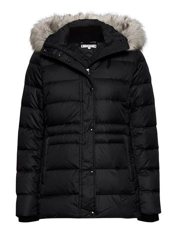 Tommy Hilfiger Th Ess Tyra Down Jkt With Fur Outerwear Jackets Anoraks Musta Tommy Hilfiger BLACK