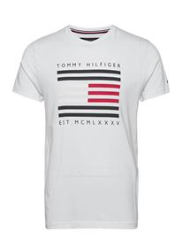 Tommy Hilfiger Corp Flag Lines Tee T-shirts Short-sleeved Valkoinen Tommy Hilfiger WHITE, Miesten paidat, puserot ja neuleet