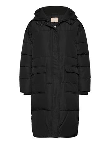 Soft Rebels Signe Puffer Coat Topattu Pitkä Takki Musta Soft Rebels BLACK