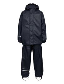 CeLaVi Rainwear Set Solid, W. Fleece Outerwear Rainwear Sets & Coveralls Sininen CeLaVi NAVY, Lastenvaatteet