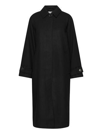 Envii Encampden Jacket 6649 Villakangastakki Pitkä Takki Musta Envii BLACK, Naisten ulkovaatteet