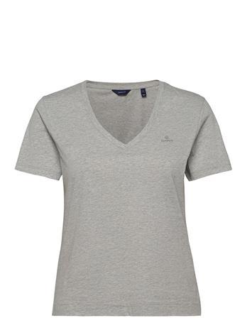 GANT Original V-Neck Ss T-Shirt T-shirts & Tops Short-sleeved Harmaa GANT LIGHT GREY MELANGE, Naisten paidat, puserot, topit, neuleet ja jakut