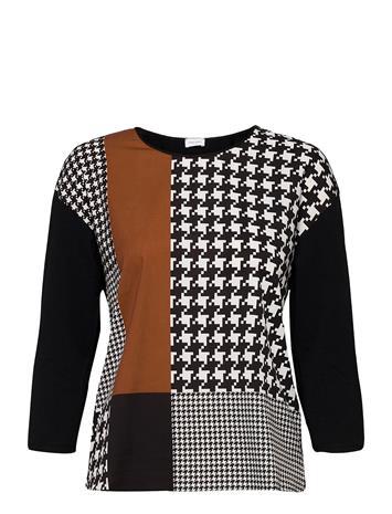 Gerry Weber T-Shirt 3/4-Sleeve R T-shirts & Tops Long-sleeved Musta Gerry Weber BLACK/BROWN PRINT