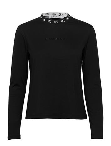 Calvin Klein Jeans Ck Logo Trim Ls Tee T-shirts Long-sleeved Musta Calvin Klein Jeans CK BLACK