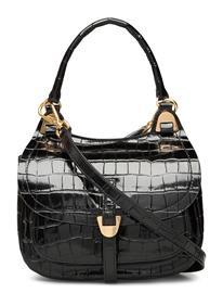 Coccinelle Fauve Croco Shiny Soft Bags Top Handle Bags Musta Coccinelle NOIR