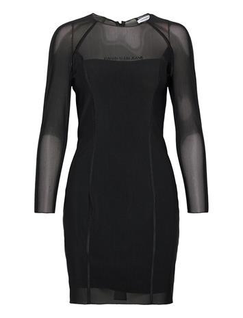 Calvin Klein Jeans Body-Con Mesh Double Layer Dress Lyhyt Mekko Musta Calvin Klein Jeans CK BLACK