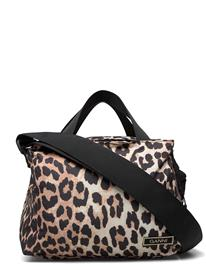 Ganni Top Handle Bag Bags Small Shoulder Bags - Crossbody Bags Ruskea Ganni LEOPARD