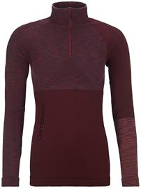 Ortovox Merino Comp Zip Neck Tech Tee LS dark wine blend Naiset