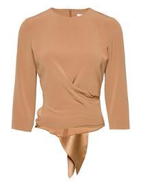 Andiata Kiana Blouse Blouses Short-sleeved Beige Andiata COGNAC