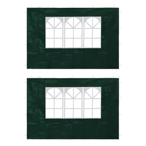vidaXL Juhlateltan ikkunalliset sivuseinät 2 kpl vihreä