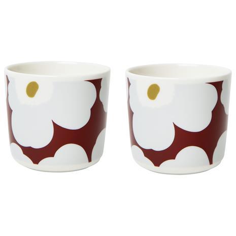 Marimekko Unikko Cups, 2-pack, 20 cl Wine Red/Light grey