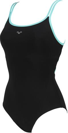 arena Emily Cross Back One Piece Swimsuit Women, black/mint
