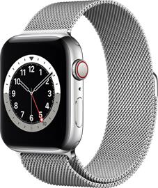 Apple Watch Series 6 GPS + Cellular hopeanvärinen ruostumaton teräskuori 44 mm hopeanvärinen milanolaisranneke M09E3KS/A