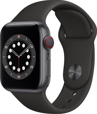 Apple Watch Series 6 GPS + Cellular tähtiharmaa alumiinikuori 40 mm musta urheiluranneke M06P3KS/A