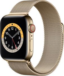 Apple Watch Series 6 GPS + Cellular kullanvärinen ruostumaton teräskuori 40 mm kullanvärinen milanolaisranneke M06W3KS/A