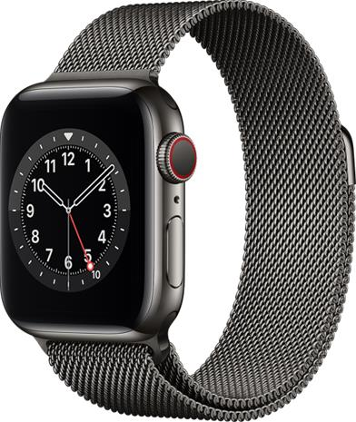 Apple Watch Series 6 GPS + Cellular grafiitinharmaa ruostumaton teräskuori 40 mm grafiitinharmaa milanolaisranneke M06Y3KS/A