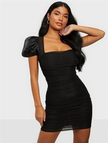 Missguided Mesh Puff Sleeve Mini Dress Black