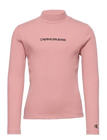 Calvin Klein Rib Ls Mock Neck T-Shirt T-shirts Long-sleeved T-shirts Vaaleanpunainen Calvin Klein SOOTHING PINK