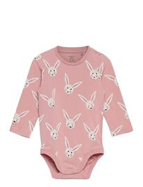 Lindex Body Aop Rabbits Pitkähihainen Body Vaaleanpunainen Lindex PINK
