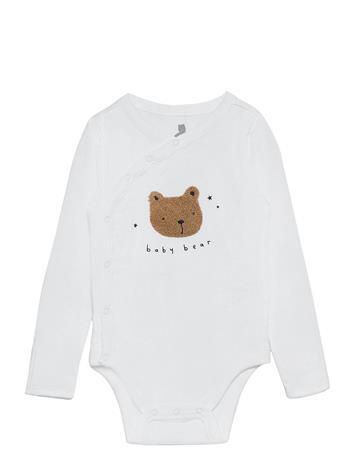 GAP Baby Bear Kimono Bodysuit Pitkähihainen Body Valkoinen GAP OPTIC WHITE