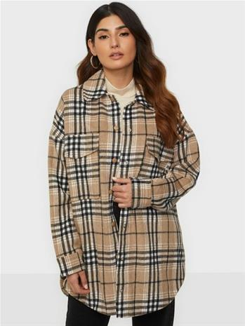 Missguided Oversized Check Shacket Beige