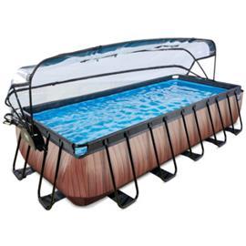EXIT Uima-allas Wood 540x250cm, sisältää peitteen ja suodatinpumpun, ruskea