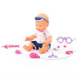 POLESIE ® Iloinen vauvanukke, 35 cm tutilla ja lääkäripakkauksella, 4 osaa
