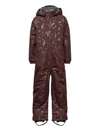 Mikk-Line Polyester Junior Suit Aop Outerwear Snow/ski Clothing Snow/ski Suits & Sets Ruskea Mikk-Line PUCE BROWN