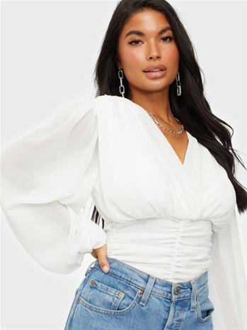 Parisian Wrap Front Blouse White