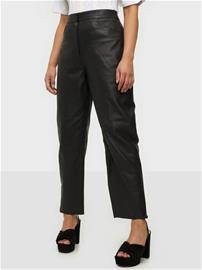 Selected Femme Slfagnes Mw Cropped Leather Pant B