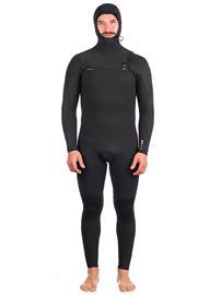 O'Neill Hyperfreak 5/4+ Chest Zip Hooded Wetsuit black / black Miehet