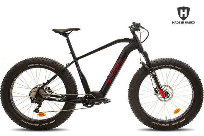 """Helkama FE11S -sähköfatbike, musta/punainen, 17"""""""""""