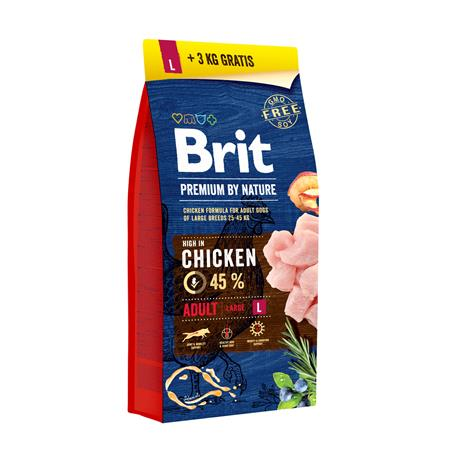 Brit Premium by Nature Adult L suurten rotujen aikuisille koirille 15+3 kg täysravinto