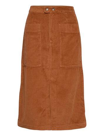 GAP A-Line Corduroy Midi Skirt Polvipituinen Hame Ruskea GAP CHESTNUT 616