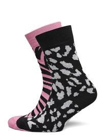 DEDICATED Socks Sigtuna 2-Pack Animal Pattern Pink And Lynx Black Underwear Socks Regular Socks Musta DEDICATED BLACK