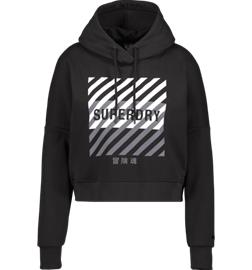 Superdry W TRAINING CORE SPORT CROP HOOD BLACK