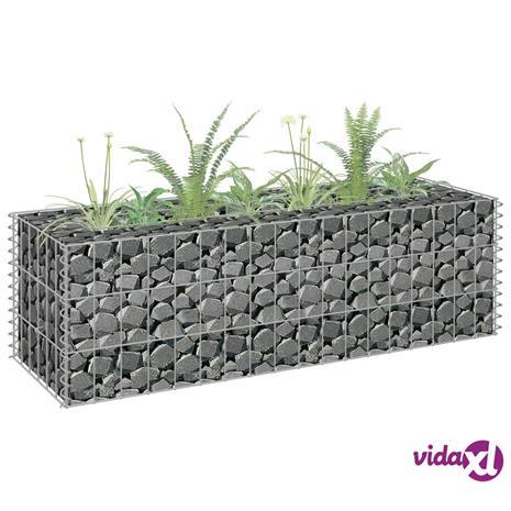 vidaXL Korotettu kivikori/kukkalaatikko galvanoitu teräs 90x30x30 cm