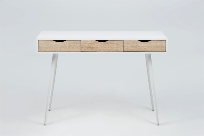 Neptun kirjoituspöytä, valkoinen/tammi