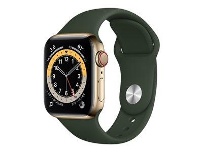 Apple Watch Series 6 GPS + Cellular kullanvärinen ruostumaton teräskuori 40 mm kyproksenvihreä urheiluranneke M06V3KS/A