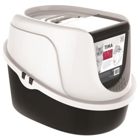 M-PETS Maison de toilette Tima - 52,3x39,7x38cm - Mustavalkoinen - Kissoille
