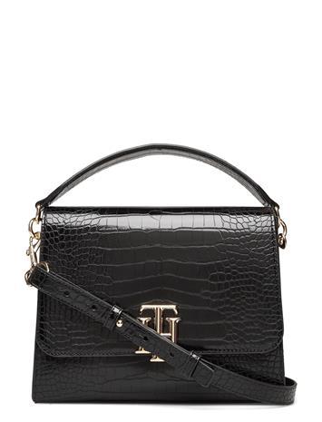 Tommy Hilfiger Th Lock Satchel Croc Bags Small Shoulder Bags - Crossbody Bags Musta Tommy Hilfiger BLACK CROCO