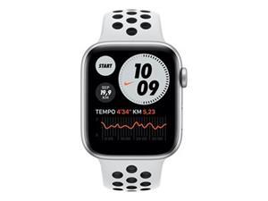 Apple Watch Nike Series 6 GPS hopeanvärinen alumiinikuori 44 mm Pure Platinum/musta Nike urheiluranneke MG293KS/A