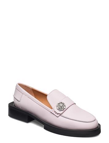 Ganni Calf Leather Loaferit Matalat Kengät Vaaleanpunainen Ganni PALE LILAC