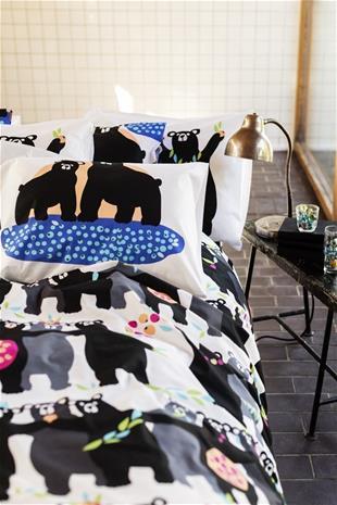 Finlayson Otso -pussilakanasetti, sininen-aprikoosi, 150 x 210 + 50 x 60 cm