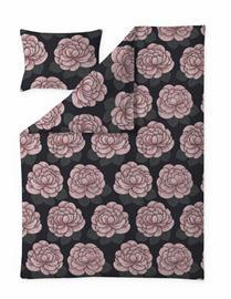 Finlayson Sylvi -satiinipussilakanasetti, musta-roosa, 150 x 210 + 50 x 60 cm