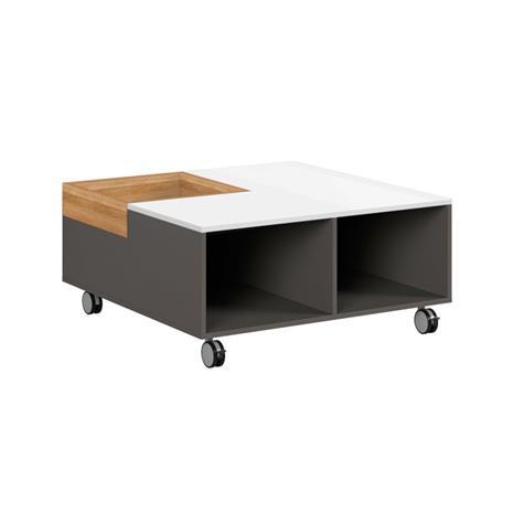 Sohvapöytä Graphic, valkoinen kiiltävä/tammi