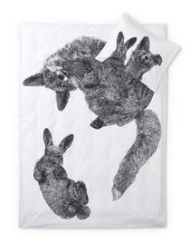Finlayson Villipedot -pussilakanasetti, musta-valkoinen, 150 x 210 + 50 x 60 cm